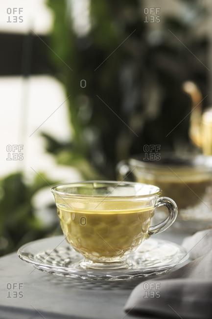 Close up of turmeric milk