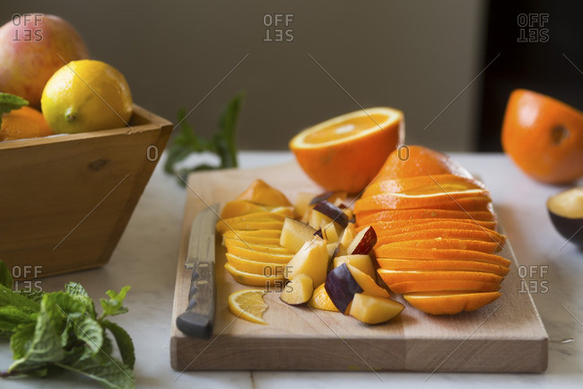 Fresh cut fruit on a cutting board
