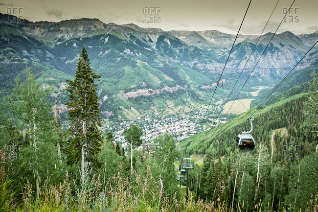 The view of Telluride, Colorado from the gondola