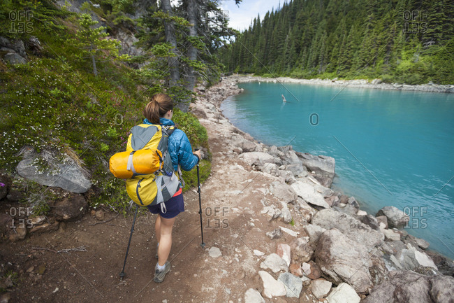 Hiking beside Garibaldi Lake in Garibaldi Provincial Park, British Columbia, Canada