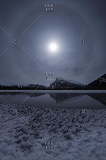 Moon Halo over Mount Rundle