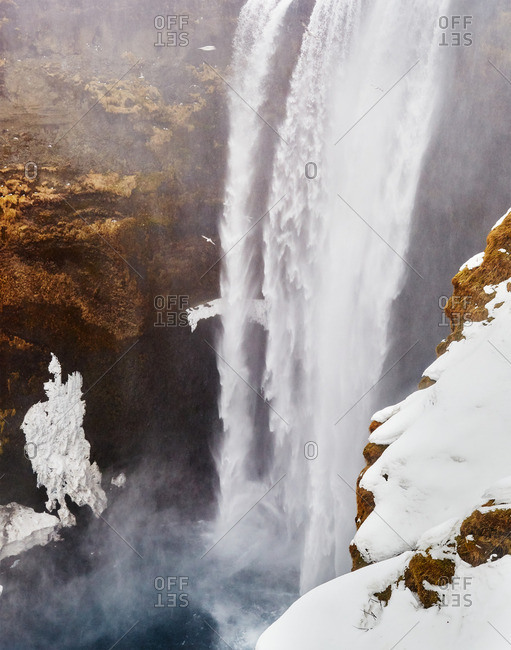 Oxarafoss waterfall in Iceland in winter
