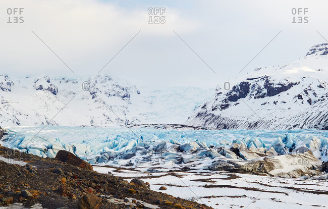 Blue ice of glacier in Iceland