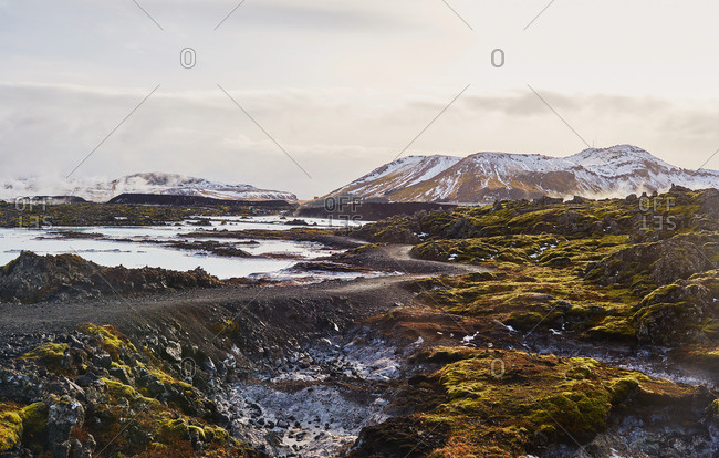 Lava fields with geothermal heated water in Iceland