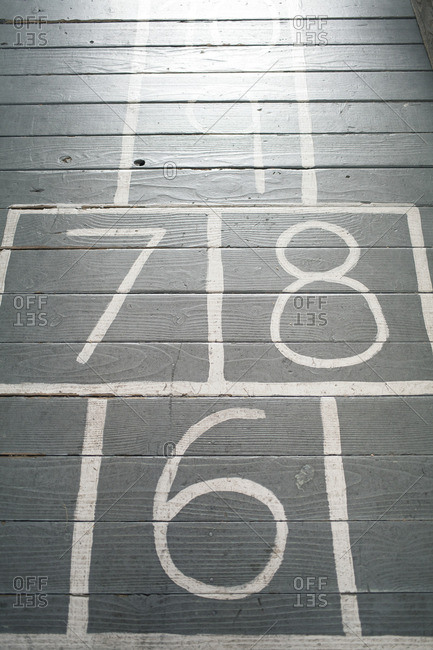 Close-up of a hopscotch court