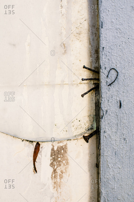 Detail of a weathered white wall