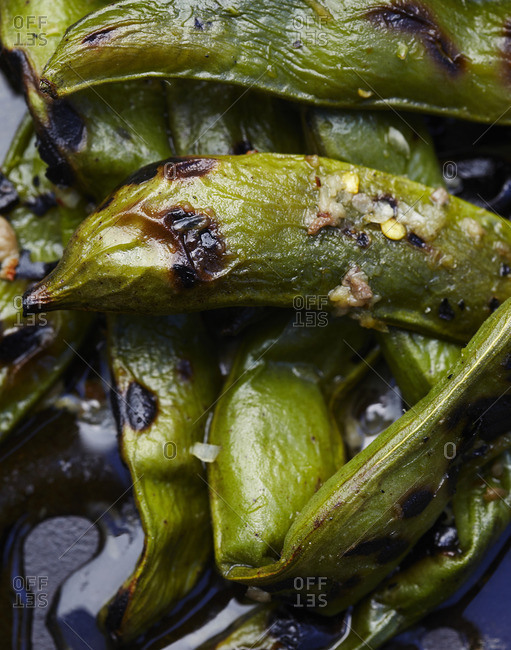 Close-up of roasted edamame beans