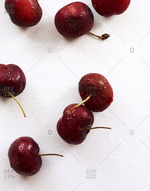 Fresh cherries on white background