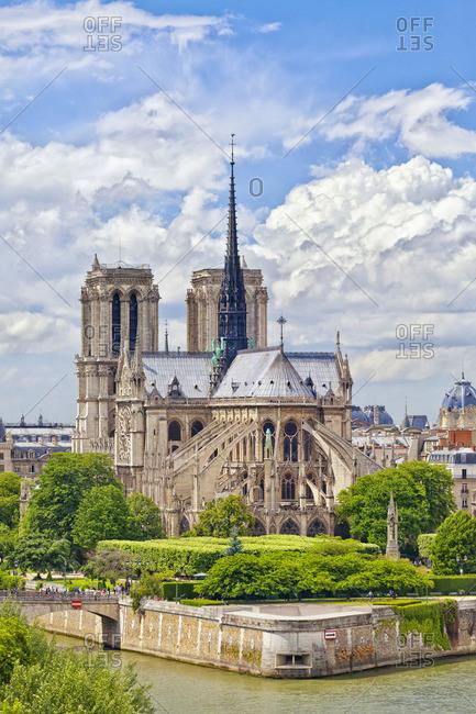 Elevated view of Notre Dame de Paris and River Seine