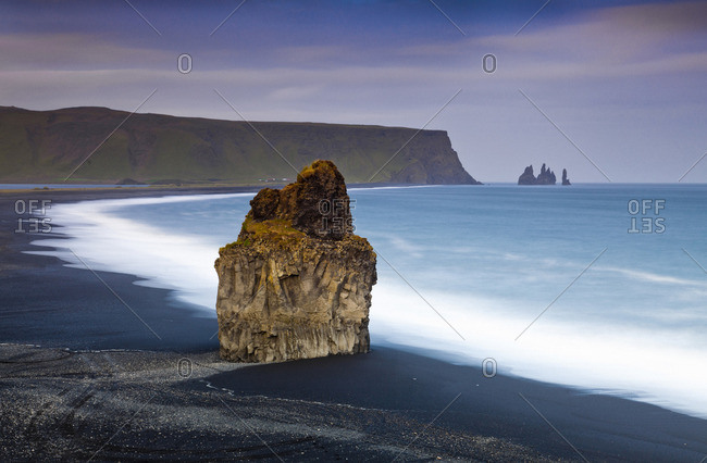 Basalt Rock formations on the beach in the evening