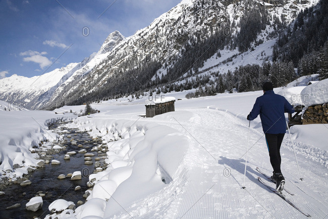 Walking and cross country ski track along the river Pitze near Weisswald