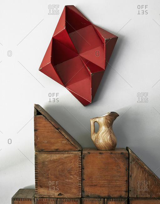 Decorative wooden items by wall