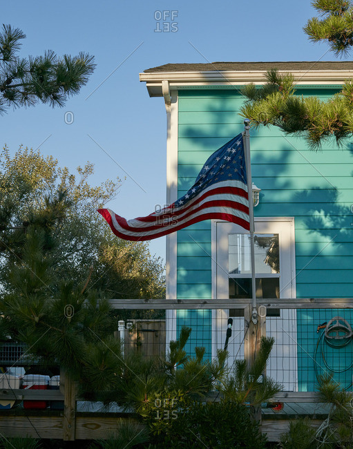 Flag on deck of home