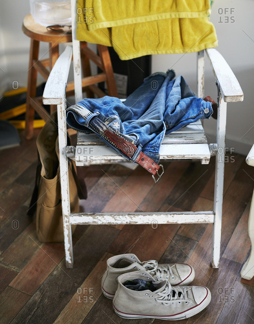 Clothing by a rocking chair
