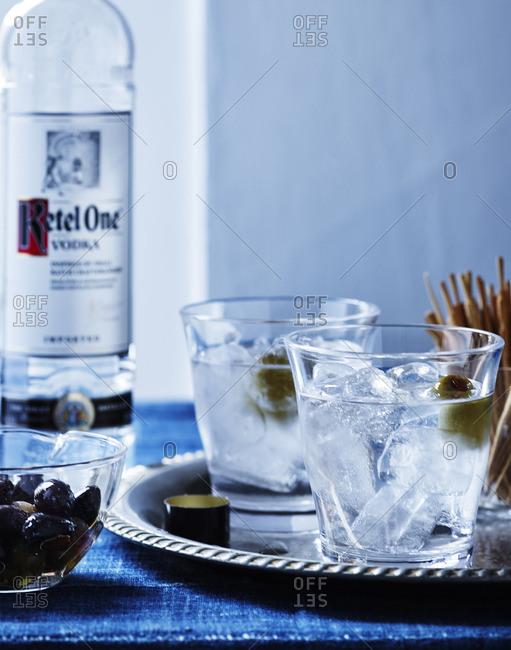 Vodka with olives