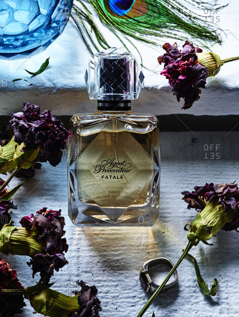 Perfume bottle and dried flowers