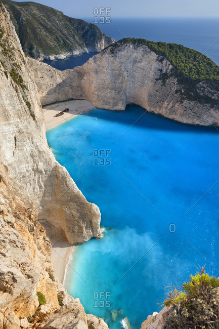 High angle view of Navagio beach or Shipwreck beach (Smuggler\'s Cove)