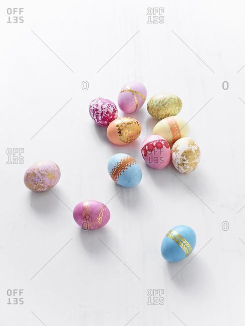 Dyed eggs on a white background