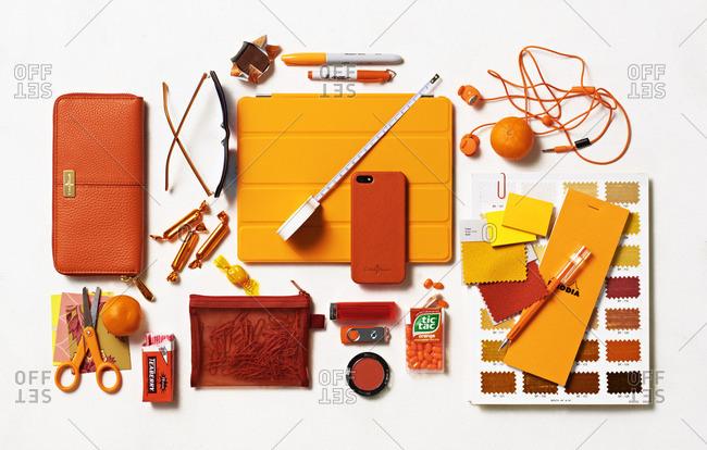 Orange objects on white background