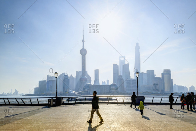 The promenade in the morning with Pudong in the background