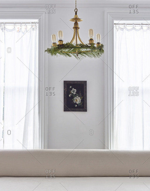 Chandelier with pine bough