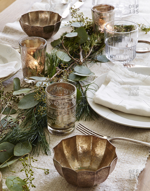 Pine centerpieces on table