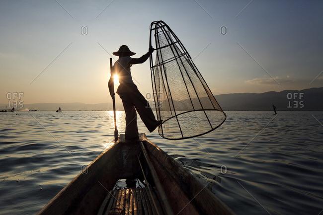 Traditional leg-rowing Intha fisherman