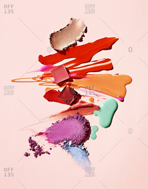 Various smeared makeup products