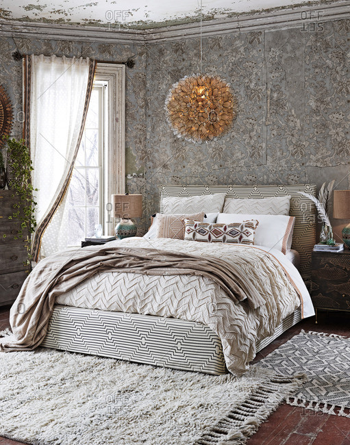 A furnished weathered bedroom