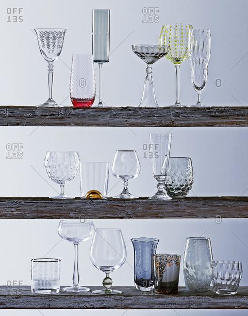 Variety of glasses on shelves