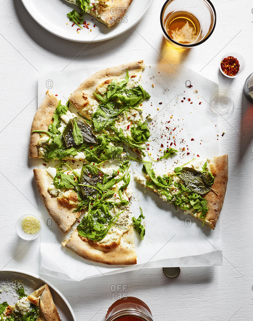 Pizza with arugula topping