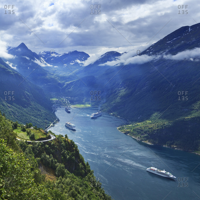 Cruise ships in the fjord
