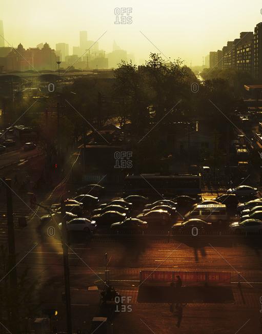 Hazy street in Beijing, China