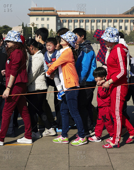Tourists lined up in Beijing