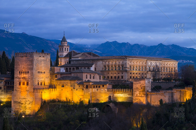 The Alhambra Palace at twilight