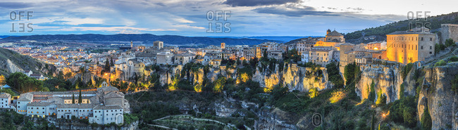 Panoramic view of Cuenca and its Casas Colgadas (Hanging Houses) at sunset