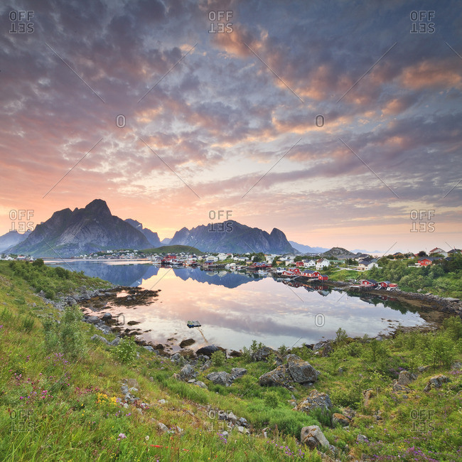 Sunset over the famous fishing village of Reine on Moskenes Island