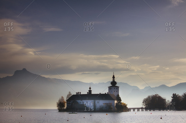 Ort Castle on Lake Traunsee and Traunstein Mountain