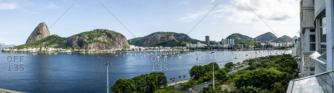 Panoramic view of Botafogo Bay with Pao de Acucar and Morro da Urca in the background