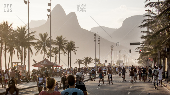 View of Avenida Vieira Souto in Ipanema Beach with Morro Dos Hermanos in the background