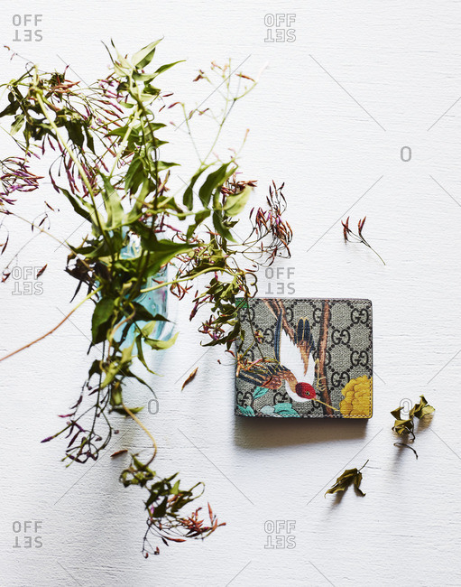 A wallet by dried flowers