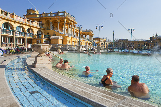 People enjoying the sun in the thermal baths