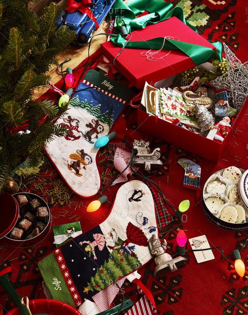 Decorative Christmas items on ground