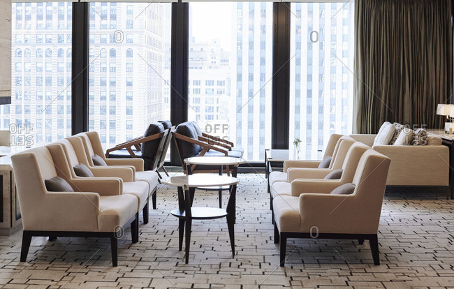 Seating area in upscale hotel