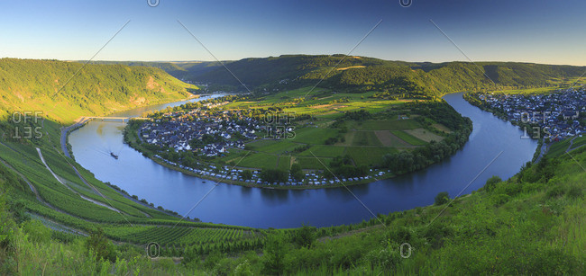 Boat on the bend of Moselle River near Kroev