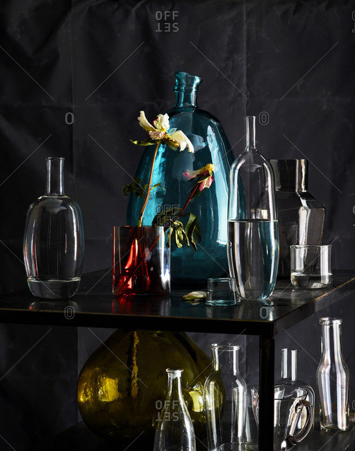 Various glass objects on shelf