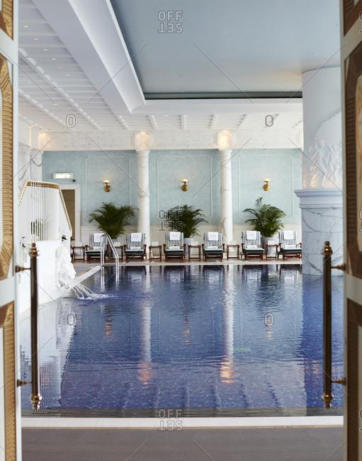 Pool in upscale hotel