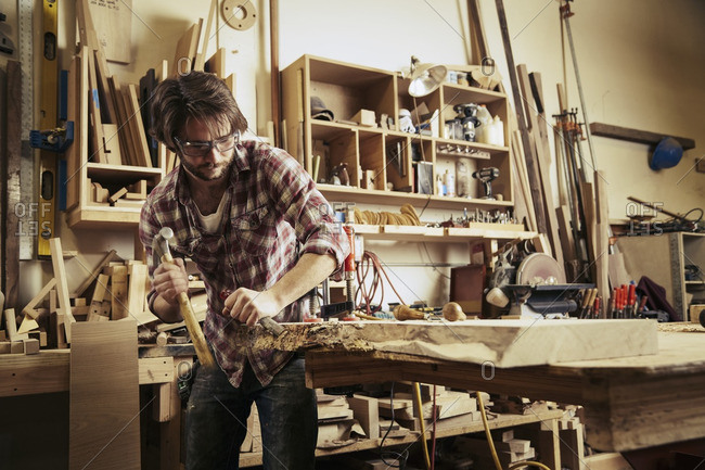 Man using a woodworking tool