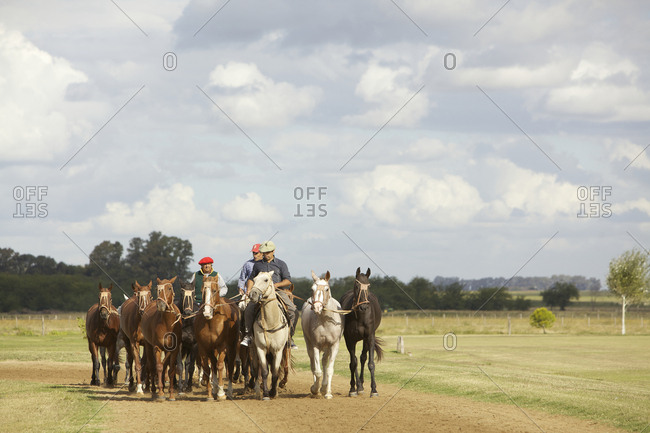 March 18, 2013: Argentinian cowboys leading horses on ranch in Argentina