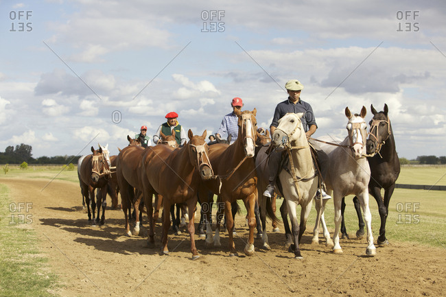 March 18, 2013: Men leading horses on dirt road on ranch in San Antonio de Areco, Argentina